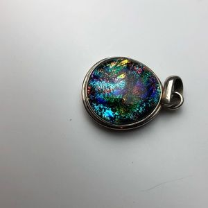 1990s dichroic glass sterling silver pendant